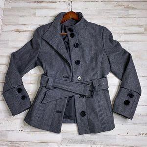 Marvin Richards Gray Women's Wool Mix Pea Coat